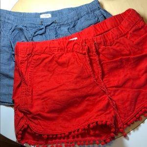 J.Crew red Pom Pom shorts and chambray shorts